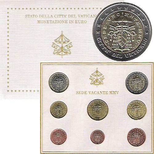 Vatikan Kursmünzensatz 2005 Sedisvakanz Im Folder Euro Münzen