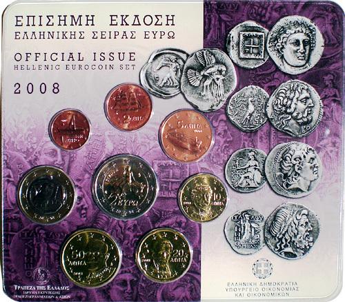 Griechenland Kursmünzensatz 2008 Im Folder Euro Münzen Banknoten