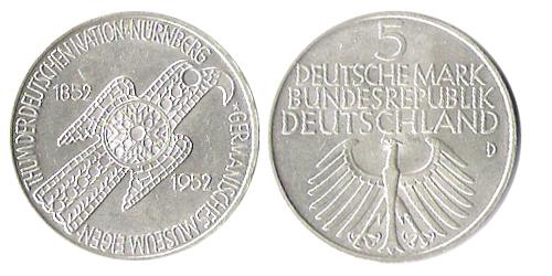 5 Dm Germanisches Museum 1952 D Euro Münzen Banknoten