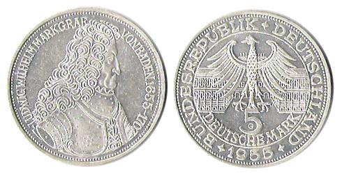 5 Dm Markgraf Von Baden 1955 G Euro Münzen Banknoten Geldscheine