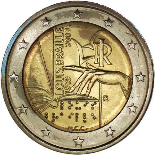 2 Euro Italien 2009 Louis Braille Euro Münzen Banknoten