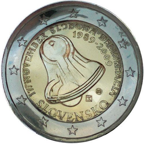 2 Euro Slowakei 2009 Demokratie20 Jahre Sanfte Revolution Euro
