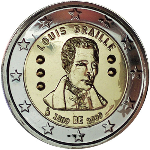 2 Euro Belgien 2009 Louis Braille Euro Münzen Banknoten