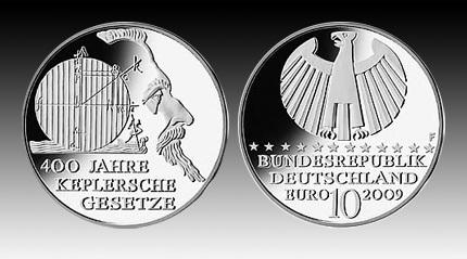 10 Euro Deutschland Kepler 2009 Bfr Euro Münzen Banknoten