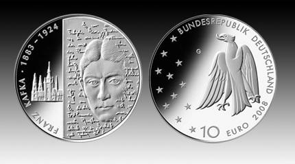 10 Euro Deutschland Franz Kafka 2008 Bfr Euro Münzen Banknoten
