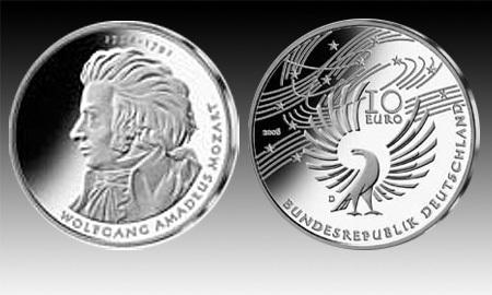 10 Euro Deutschland Mozart 2006 Bfr Euro Münzen Banknoten