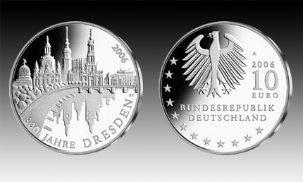 10 Euro Deutschland Dresden 2006 Bfr Euro Münzen Banknoten