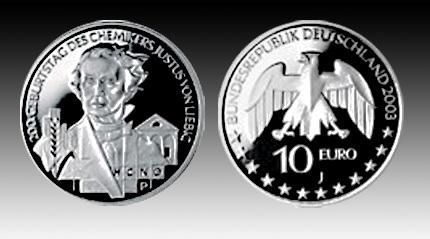 10 Euro Deutschland Justus Von Liebig 2003 Bfr Euro Münzen