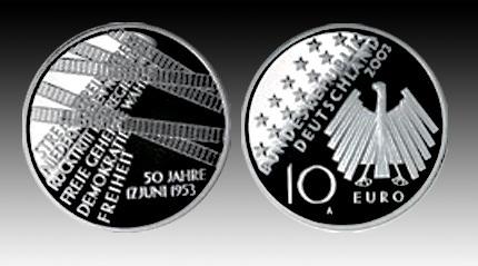 10 Euro Deutschland Volksaufstand 2003 Bfr Euro Münzen Banknoten
