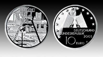 10 Euro Deutschland Ruhrgebiet 2003 Bfr Euro Münzen Banknoten