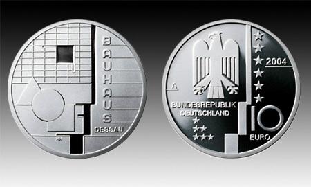10 Euro Deutschland Bauhaus Dessau 2004 Bfr Euro Münzen Banknoten