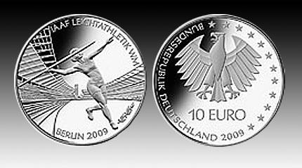 10 Euro Deutschland Leichtathletik Wm 2009 Bfr Euro Münzen Notaphila