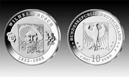 10 Euro Deutschland Wilhelm Busch 2007 Bfr Euro Münzen Banknoten