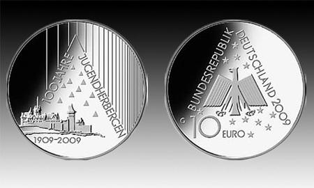 10 Euro Deutschland Jugendherbergen 2009 Bfr Euro Münzen