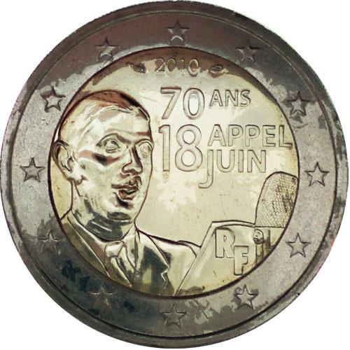 2 Euro Frankreich 2010 General De Gaulle Euro Münzen Banknoten