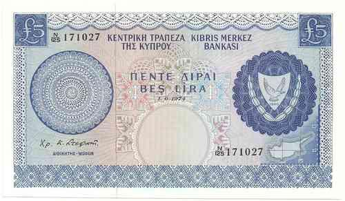 Zypern 1 Pound P 44c Euro Münzen Banknoten Geldscheine Notgeld
