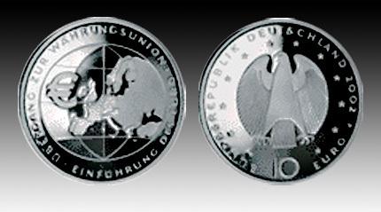 10 Euro Deutschland übergang Währungsunion 2002 Pp Gedenkmünze