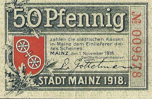 mainz 50 pf 1918 notgeld deutschland notaphila. Black Bedroom Furniture Sets. Home Design Ideas