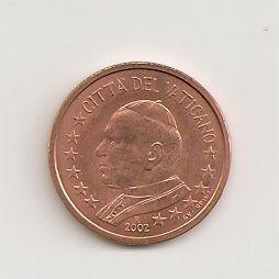 Vatikan 5 Cent 2002 Euro Münzen Banknoten Geldscheine Notgeld