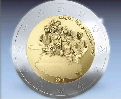 2 Euro Malta 2013 1921 Self Government Notaphila