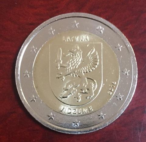 2 Euro Lettland 2016 Region Vidzeme Euro Münzen Notaphila