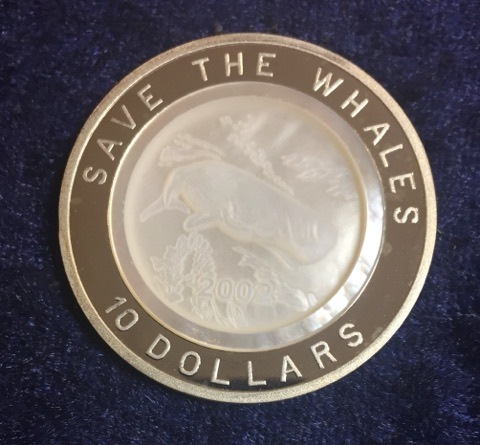 "Edelstein Reliefmünze Fiji 10 Dollars 2002 ""SAVE THE WHALES"" silber PP"