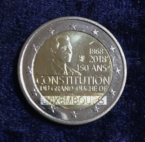 2 Euro Luxemburg 2018 Verfassung Euro Münzen Banknoten