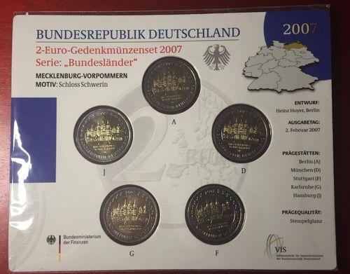 2 Euro Mecklenburg Vorpommern Schloss Schwerin 2007