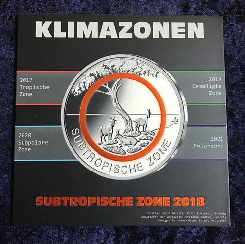 5 Euro Deutschland 2018 Subtropische Zone Münzenset Notaphila